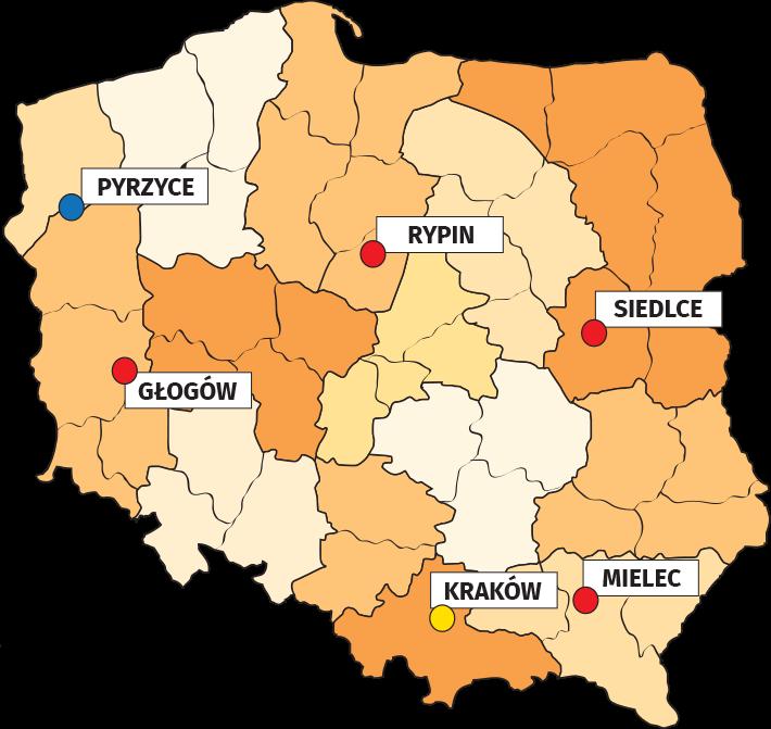 Mapa z lista miast, w ktorych mozesz kupic produkty Termo Organika